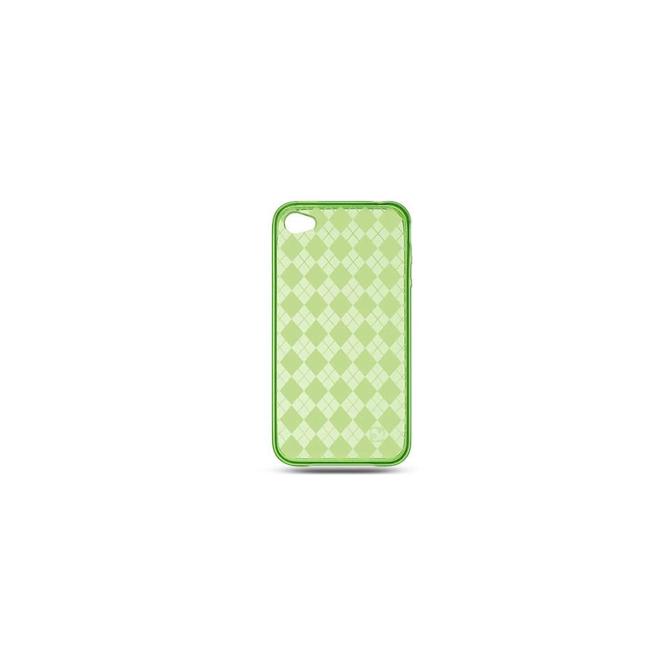 Flexi Gel SKin TPU Glove with GREEN PLAID CHECKERED Design Soft Cover Case for APPLE IPOD TOUCH 4G [WCB920]