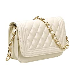 BMC Womens Cream PU Faux Leather Diamond Quilted Pattern Mini Handbag Shoulder Strap Clutch