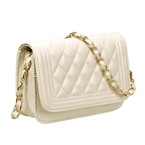BMC Womens Cream PU Faux Leather Diamond Quilted Pattern Mini Handbag Shoulder Strap Clutch (Cream Clutch compare prices)