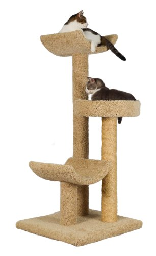 "Molly and Friends ""Layabout"" Premium Handmade 3-Tier Cat Tree with Sisal, Model 323, Beige"