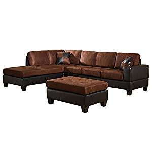 Amazoncom us pride sierra microfiber sectional sofa with for Chocolate brown microfiber sectional sofa
