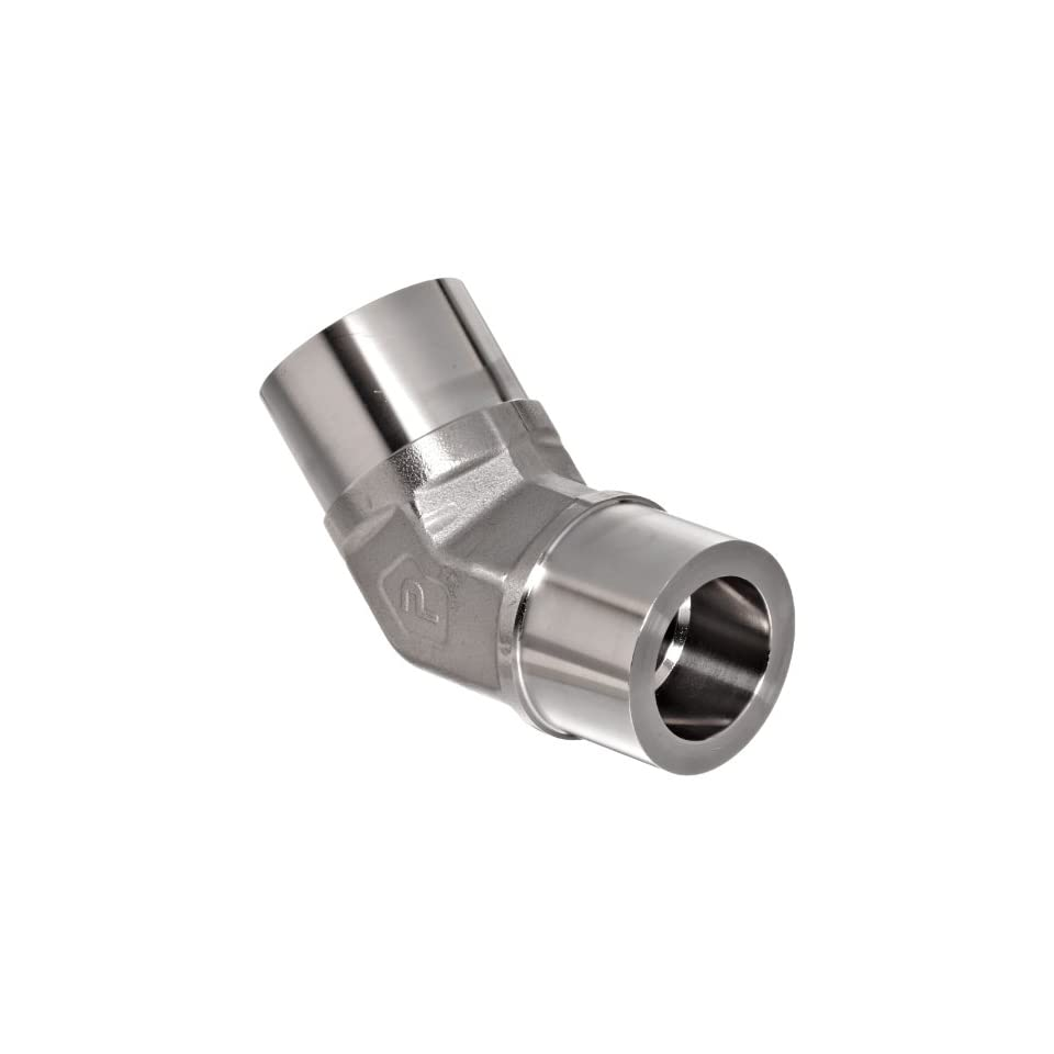 Parker Weld Lok 12 NW SS Stainless Steel 316 Socket Weld Tube Fitting, 45 Degree Elbow, 3/4 Tube OD, 0.66 Bore