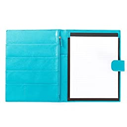 Organizer Portfolio - Full Grain Leather - Teal (blue)