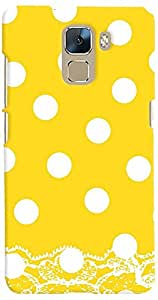 PrintVisa 3D-HH7-D7978 Pattern Polka Dots Yellow Case Cover for Huawei Honor 7
