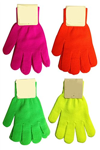 Opt® Brand. 12 Pairs Assorted Neon Color Magic Gloves Wholesale Lot. Free Shipping From New York. Usa Trademark Registered Code: 86522969.
