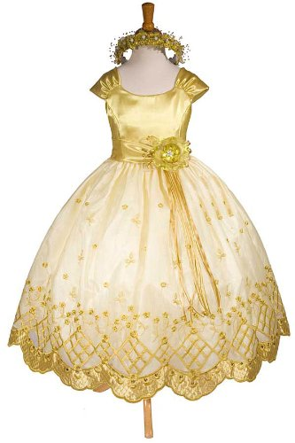 E1155 New Gold Flower Girl Pageant Easter Party Wedding Dress Size 2 to 12 (Same Day Shipping. Orders Arrive in 3 to 5 Business Days)