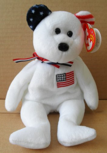 TY Beanie Babies America Bear Stuffed Animal Plush Toy - 8 1/2 inches tall - White with Red and White Stripe Right Ear and Blue and White Stars Left Ear - American Flag on Chest - 1