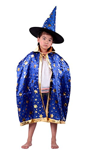 MEYKISS Kids Cape Halloween Costumes Cloak with Witch Hat