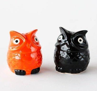 Halloween Black & Orange Owl Salt & Pepper Shaker Set