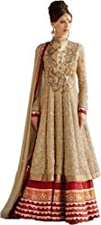 SHREENATHJI ENTERPRISE Beige Georgette Semi Stitched Suit (H162_Beige_Free size)
