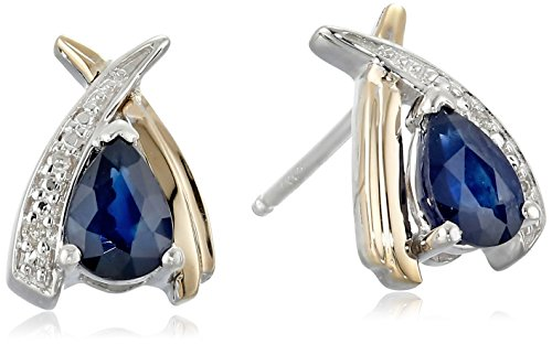 Sterling-Silver-and-14k-Yellow-Gold-Pear-Shaped-Blue-Sapphire-and-Diamond-Accent-Earrings
