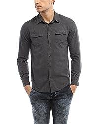 Bandit Dark Grey Casual slim Fit Shirt