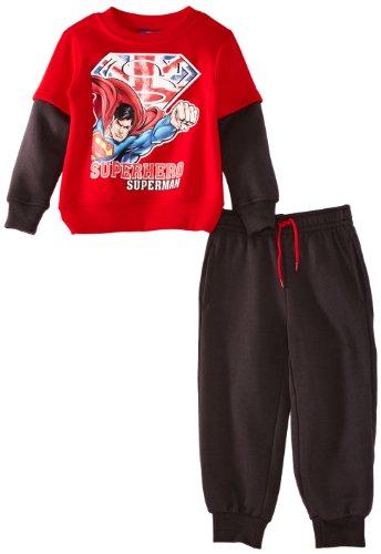 Superman - Felpa, bambino, Rosso (Red/Dark Grey), 8 anni