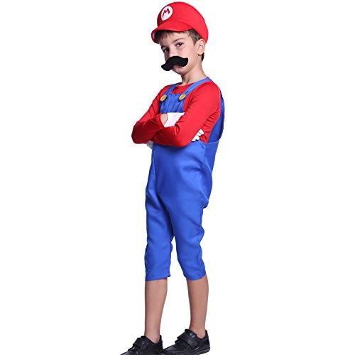 80s Boys Kids Super Mario Luigi Bros Plumber Workman Fancy Dress Costume (Super Mario 74 compare prices)