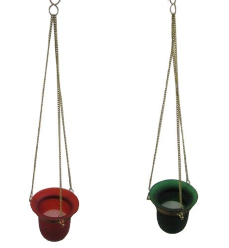 ONE Hanging Glass Candle Holder With Votive Candle - 4 - Color Will Vary
