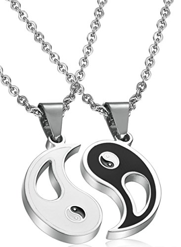 FIBO STEEL 2pcs Stainless Steel Yin Yang Pendant Necklace for Men Women Puzzle Couples Necklace,22 inches (Couple Necklace Stainless Steel compare prices)