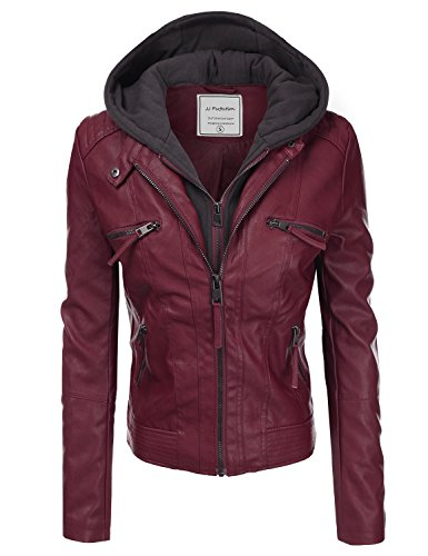 JJ Perfection Women's Twofer Faux Leather Hoodie Jacket w/ Pockets BURGUNDY M (Outdoor Leather Jacket compare prices)