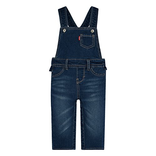 Levi's Girls' Baby Ruffle Denim Overall, Blue Winds, 6/9 Months