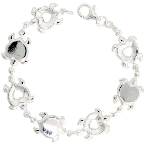 Sterling Silver Heart-shaped Turtle Link Bracelet, 1/2