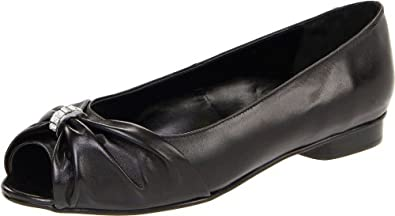 Vigotti Women's Artie Peep-Toe Flat,Black Nappa,8.5 M US