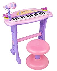 Buddy Fun Electronic Symphonic Piano / Key Board Organ - Educational Musical Toy With Mp3 Plug-In Option + Sing-Along Microphone