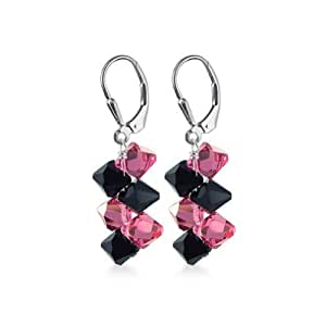 SCER233 925 Sterling Silver Black Pink Dangle Handmade Earrings Made with Swarovski Crystal Elements