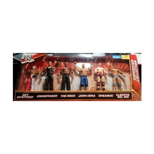 WWE Mattel WWE Wrestling Exclusive Superstar Collection Action Figure 6-Pack Rey Mysterio, Undertaker, Rock, John Cena, Sheamus & A