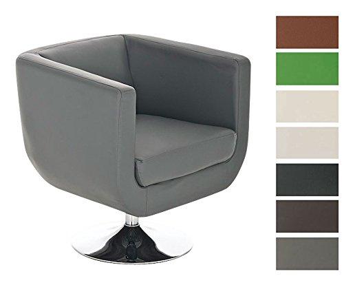 CLP-runder-Design-Leder-Loungesessel-COLORADO-im-Retro-Stil-drehbar-aus-bis-zu-7-Farben-whlen-grau