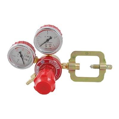 uxcell® Gold Tone Red Welding Acetylene Regulator w 2 MPa Decrement Gauges