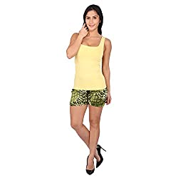 Melfon Women's Multi Coloured Animal Print Fusion Shorts (Melf010_XS)
