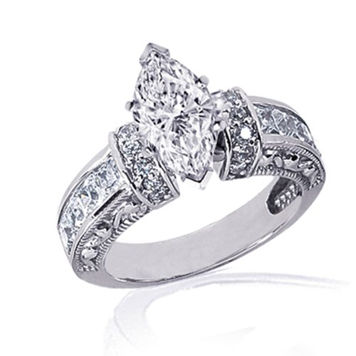 1 90 Ct Marquise Cut Diamond Vintage Heirloom Antique Engagement Pave Ring SI2
