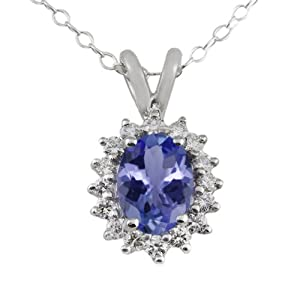 1.25 Ct 8X6MM Tanzanite & 0.32ct Diamond (GH/SI1) Sterling Silver Pendant 18""
