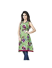 Miss & Mrs Casual Sleeveless, Floral Printed Cotton Women's Kurti - B00XMXZBOW