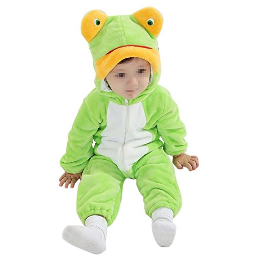 Unisex-baby Spring and Summer Thin Flannel Animal Romper Frog Onesie Suit