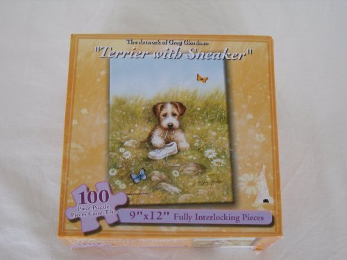 "2004 "" Terrier with Sneaker "" Greg Giordano Artwork Jigsaw Puzzle - 100 pieces - 1"