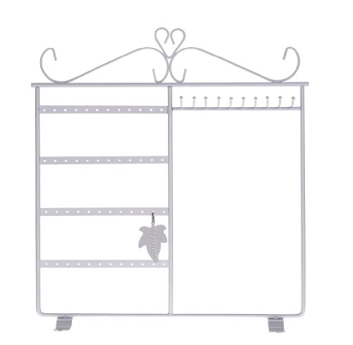 MyGift Jewelry Holder Hanger, Jewelry Stand for Earrings / Necklaces / Bracelets, White (White Earring Rack compare prices)