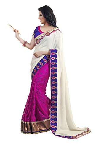 Vastrang Womens Pink Net Brasso Saree with Blouse piece.