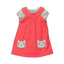 Carter\'s Knit Jumper S/S Set - Coral Cat-3 Months