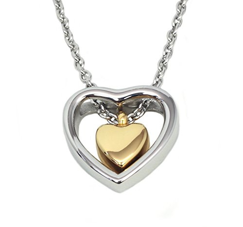 Double Heart Golden Cremation Urn Jewelry Necklace