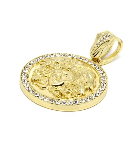 Mens Gold Clear Medallion Medusa Gold Greek Pendant Xl