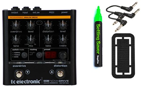 Tc Electronic Nova Drive Bundle - 4 Items: Stagetrix Setting Saver Pen, Stagetrix Pedal Fastener, 2X Hosa Patch Cables