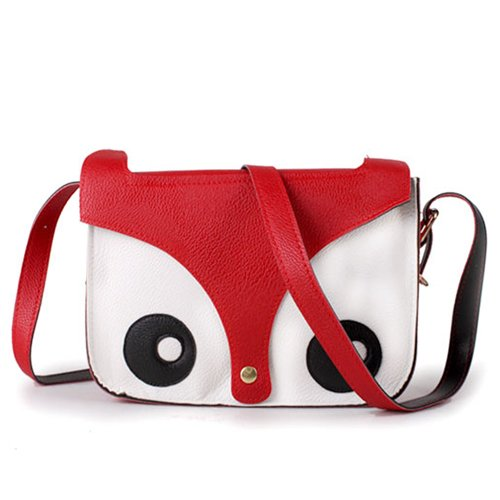 SAVFY Fashion Hot Retro Contrast Color Little Naughty Owl Fox Bag Messenger PU Leather Crossbody Purse Satchel...