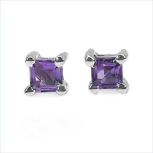 Jewelry-Schmidt-Amethyst Earrings Rhodium-square 925 Silb. 0.25 carats