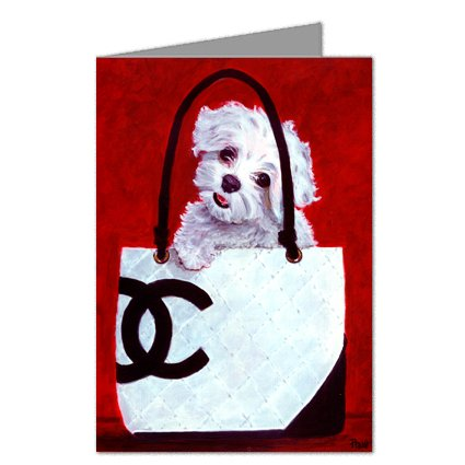 Maltese in A Chanel Handbag Greeting Card Set