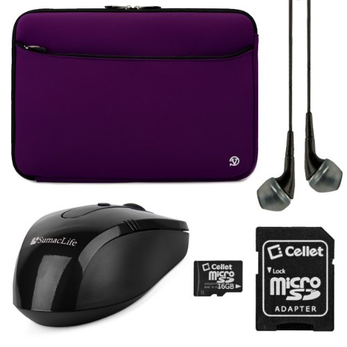 "Vg Neoprene Sleeve Cover (Purple) Hp Pavilion Chromebook / Sleekbook / Touchsmart / Envy Dv4 / Spectre 14"" Ultrabook Laptop + Black Vangoddy Headphones + Black Sumaclife Usb Mouse + 16Gb Memory Card"