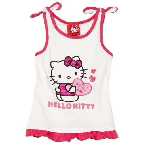 Hello Kitty Little Girls White Tie Strap Tank, Bright White, 4T