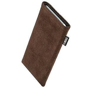 fitBAG Classic Braun Handytasche Tasche aus original Alcantara mit Microfaserinnenfutter für HTC One S