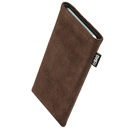 fitBAG Classic Brown custom tailored sleeve for Nokia Lumia 830. Genuine Alcantara pouch with integrated MicroFibre lining for display cleaning