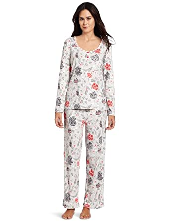 White Orchid Women's Aspen Lodge Pajama Set, Light Grey Print, Small