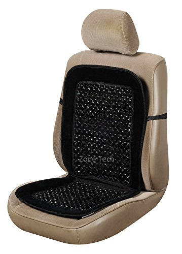 Zone Tech Set of 2 Black Premium Quality Double Strung Wooden Beaded and Plush Velvet Ultra Comfort Massing Car Seat Cushion